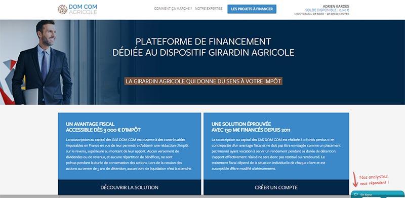 DOM COM AGRICOLE : 1ère plateforme de financement dédiée au dispositif Girardin agricole.
